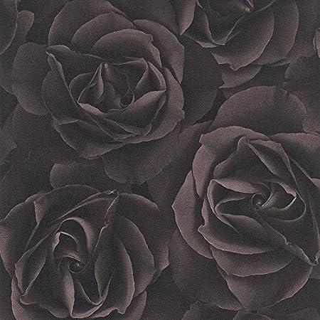 Rasch Floral Rose Pattern Wallpaper Modern Mural Flower Motif Textured Chocolate 525618