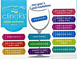 Clingks 12 Drink Markers - NEW YEAR'S ANTI-RESOLUTIONS - New Year's Party Favors