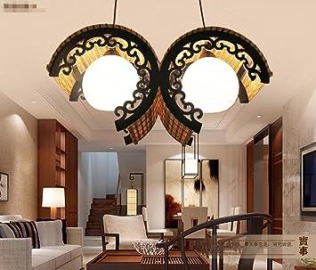 HHORD Holz Weberei Willow handgewebte Lampen Bambus Schlafzimmer ...