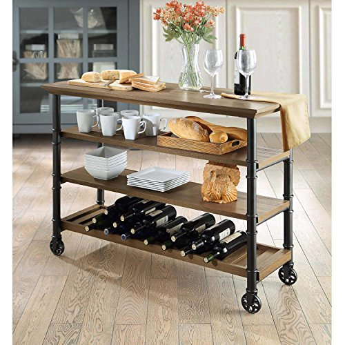 Brown Kitchen Cart with Reversible Wine Rack Shelf Feature TV Stand - Expandable Console Entertainment Center