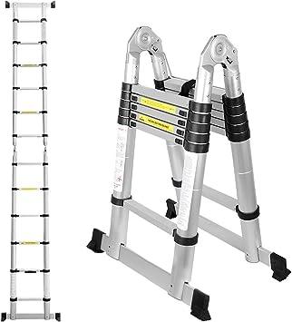 BMOT 3,8(1,9+1,9) M Escalera telescópica de Aluminio Fuerte Estabilidad Escalera plegable Escalera alta multifuncional para loft 6+6 Escalones Antideslizantes Carga 150 KG: Amazon.es: Bricolaje y herramientas