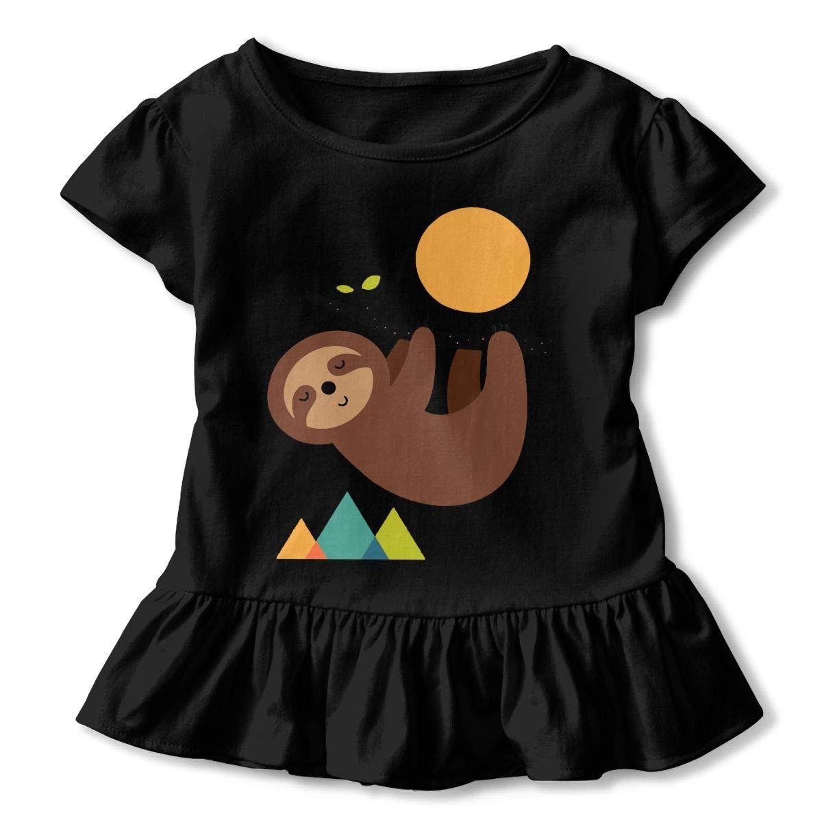 SHIRT1-KIDS Sloth Cute Childrens Girls Short Sleeve T-Shirt Ruffles Shirt Tee Jersey for 2-6T