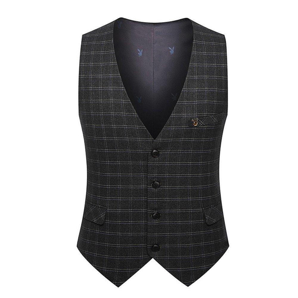 Männer im Anzug Weste, männer - Anzug, Weste, British Style Karierten Weste,Grau,M