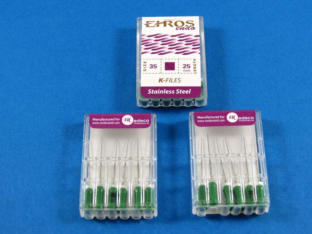 Stainless Steel Kit /3 Box EHROS Dental Endodontic FILES K 25 MM No 35