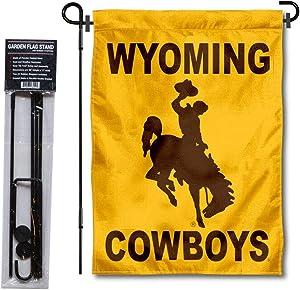 University of Wyoming Garden Flag and USA Flag Stand Pole Holder Set