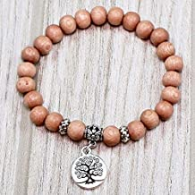 Beaded Tree of Life Rosewood Intention Yoga Stretch Bracelet
