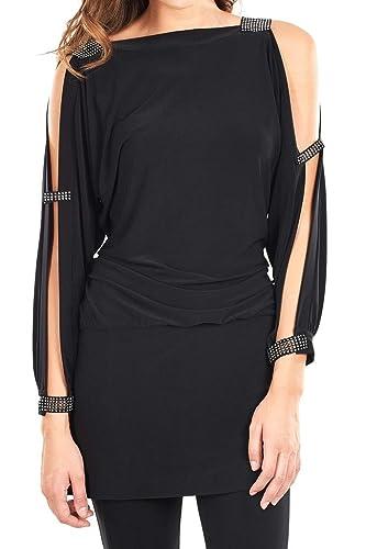 Joseph Ribkoff Black Rhinestone Cuff + Tab Open Tunic Dress Style 161059