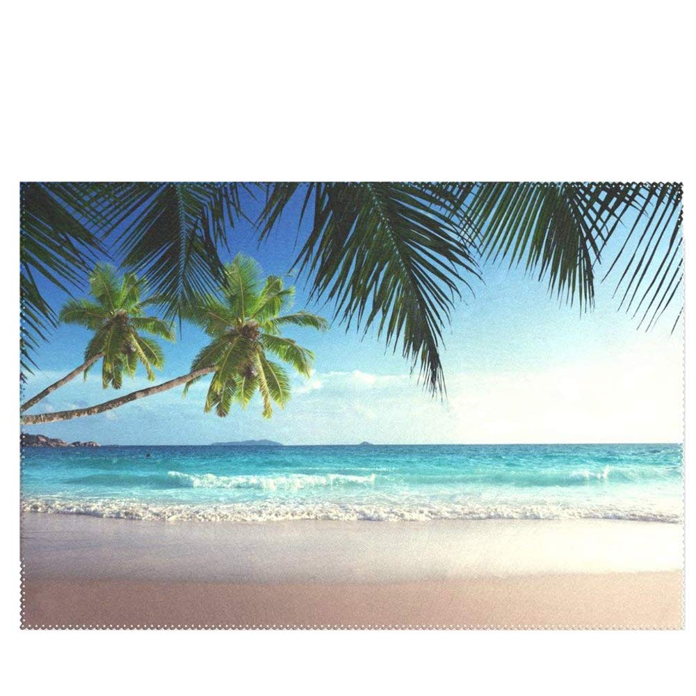 新しいエルメス wihveプレースマットWipeableダイニングPalm Tree 12 Beach Seawave inch Sunshineホワイトクラウドとブルースカイ 12 x 1 18 inch 1 B073Y7DS1B, めでぃかるもっちーず:badb7a82 --- a0267596.xsph.ru