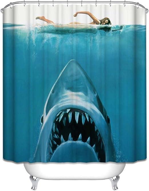 BetterM Waterproof Shark Underwater Jaws Polyester Bath Shower Curtain 180x180cm w//Hook