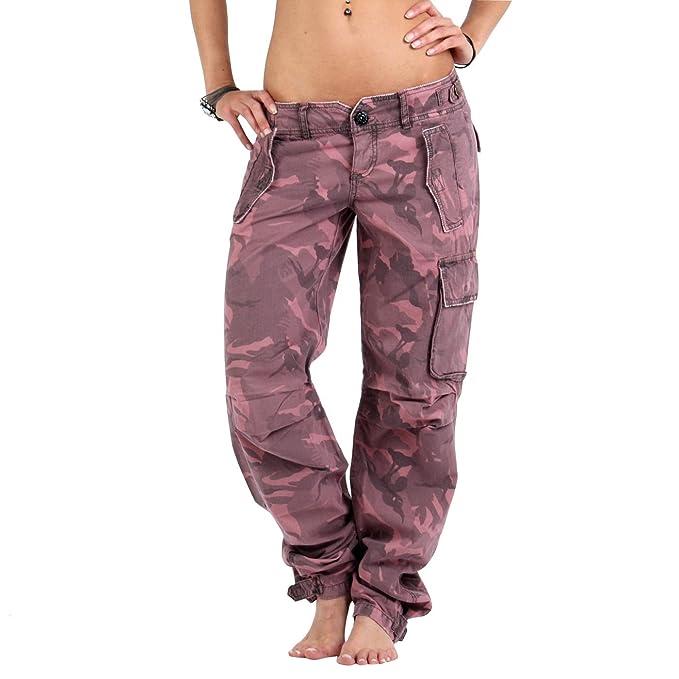 new arrival 730ad 3dc01 GUESS JEANS pantaloni da donna Shadow mimetica rosa GWB142 ...