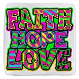 18 Inch 6-Sided Cube Ottoman Faith Hope Love Neon