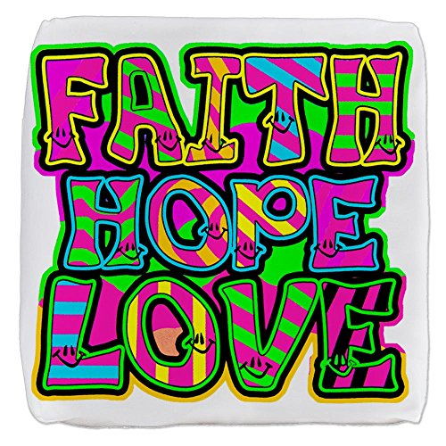 18 Inch 6-Sided Cube Ottoman Faith Hope Love Neon by Royal Lion