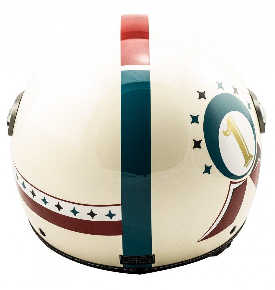 SOXON SP-325 Winner /· Pilot Vespa-Helm Retro Chopper Bobber Scooter-Helm Biker Vintage Motorrad-Helm Helmet Jet-Helm Mofa Cruiser Roller-Helm /· ECE zertifiziert /· mit Visier /· inkl Stofftragetasche /· Beige /· L 59
