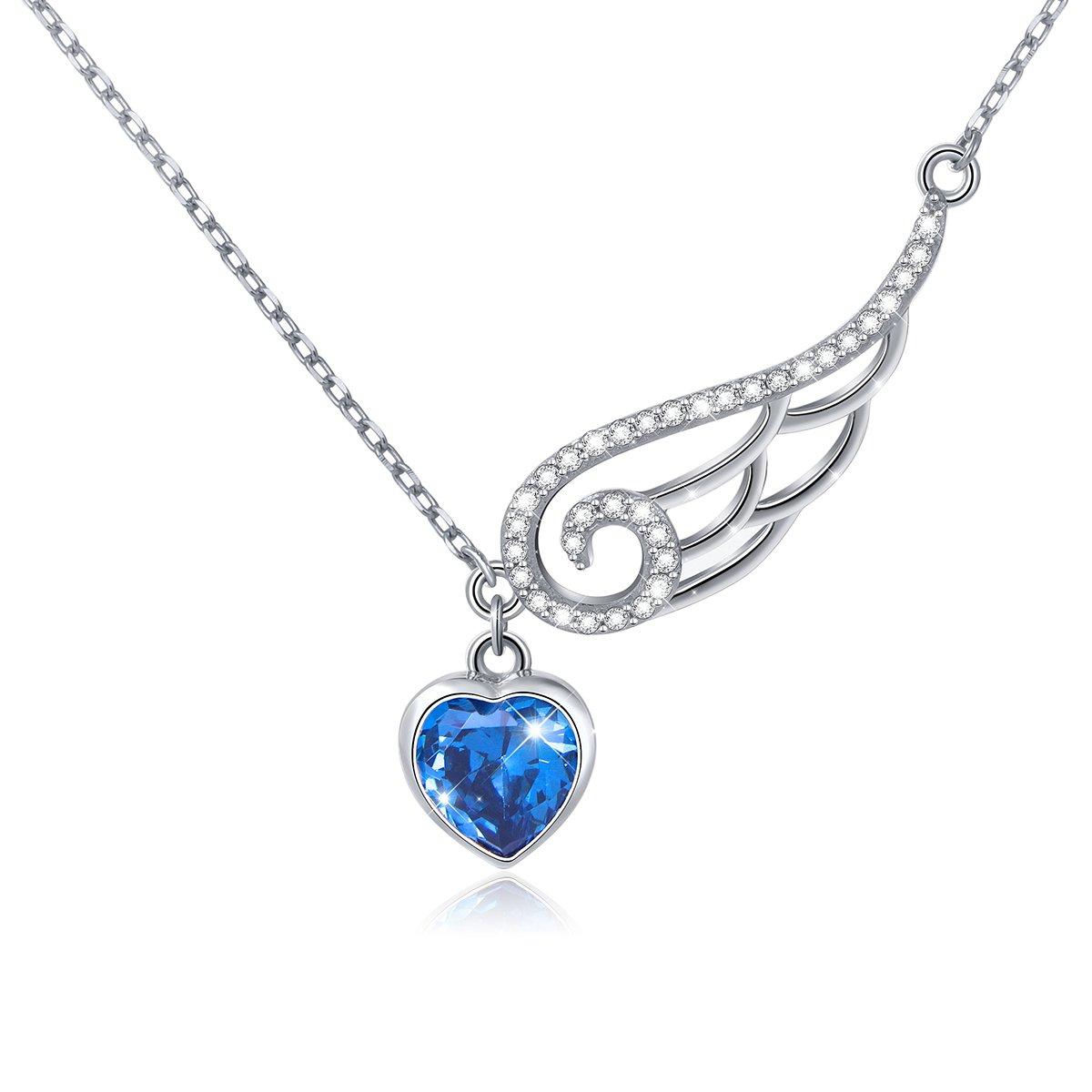 SILVER MOUNTAIN 925 Sterling Silver Blue Cubic Zirconia Heart Guardian Angel Wing Best Friend Necklaces for Women