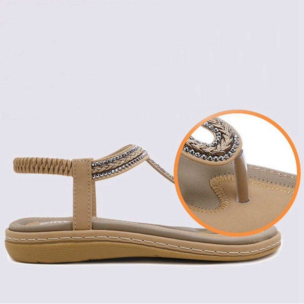 CYBLING Womens Bohemian Summer Flat Sandals Braided T Strap Prime Thong Flip Flop Shoes