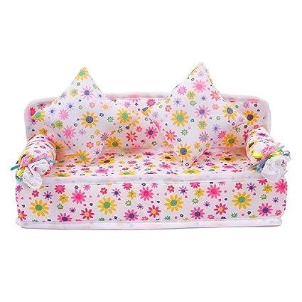 Coussins Maison Barbie Flower Canapé2 Mini Furniture Poupée Sofa 2eW9YEDHI