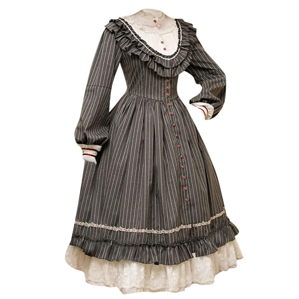 Onefa Women's Medieval Dress Renaissance Long Sleeve Vintage Gothic Gown Dress Cosplay Dresses by Onefa