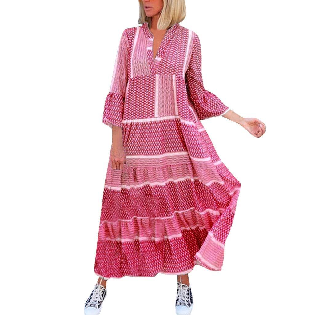 Vestidos De Playa Vestido De Oscilaci/ón Ocasional Flojo De Manga Larga para Mujer Vestido De Mujer C/óctel De Las Mujeres De Color Gradiente