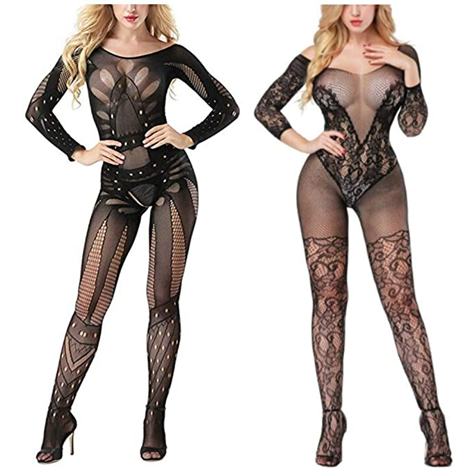 6b0fb39301f Bhwin Womens Fishnet Stockings Lingerie Fishnet Bodystocking Crotchless  Bodysuit Sexy Tights (2Pack Black)
