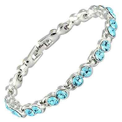 c4f05bab3d45a4 Rizilia Tennis Bracelet  18cm 7inch  with Round Cut Swarovski Crystal   Aquamarine  in 18K White Gold Plated