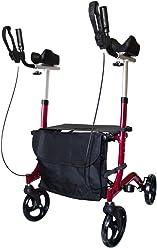 FabaCare Arthritis Rollator AT51113 Aluminium, klappbarer Alurollator, Rot, gepolsterte Armauflagen, höhenverstellbarer Arthritisrollator mit Tasche, Spezialversiegelung