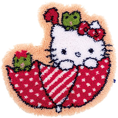 Vervaco PN-0155205 Hello Kitty in the Umbrella Shaped Rug Latch Hook Kit, 21.25