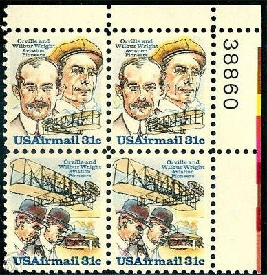 C91-92 - 1978 31c Wright Brothers Air Mail Stamps Plate Block (4) Wright Brothers First Powered Flight