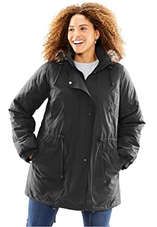 1faad23f412 Woman Within Plus Size Quilt-Lined Taslon Anorak - Black