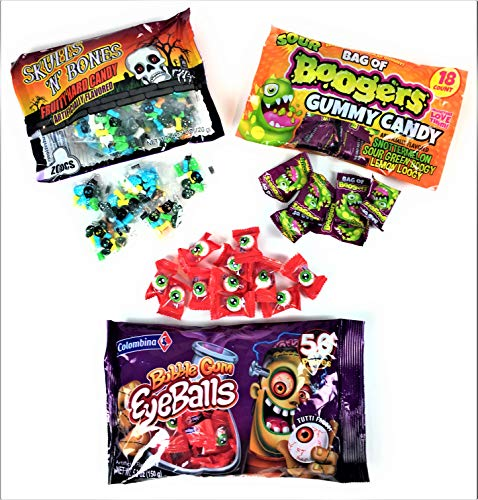 Halloween Candy Bundle| Home or Classroom Party or Trick or Treat| Candy Skulls, Gummy Boogers and Eyeball Gum| Bundle Set of 3 Bags| Total of 88 Pieces
