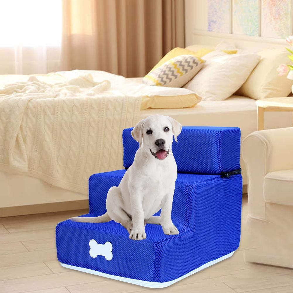 Allowevt Escalera con escalones para Perros con Escalera extra/íble Desmontable y Lavable Gato peque/ño Perro 3 Pasos para sof/á Cama Contemporary