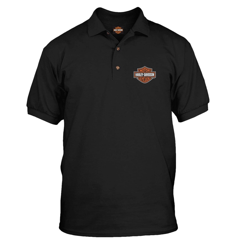 407a112e Harley-Davidson Military - Men's Short Sleeve, 3-Button Black Polo Shirt -  Bar & Shield | Overseas Tour | Amazon.com
