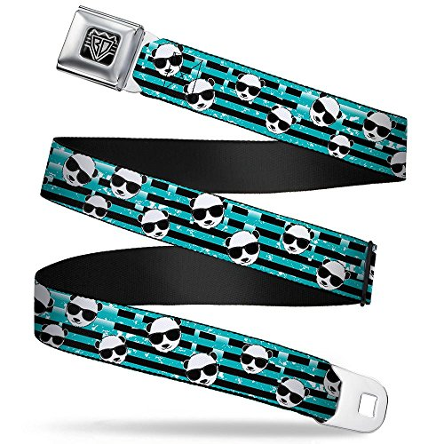 Buckle-Down Seatbelt Belt - Multi Panda w/Sunglasses Stripe Turquoise/Black - 1.0