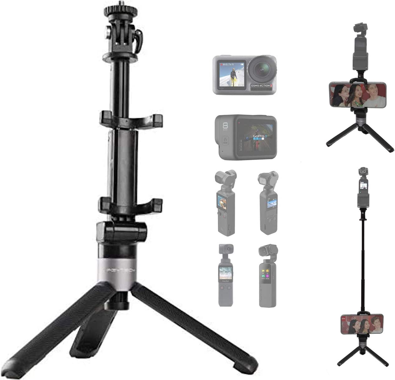 PGYTECH Gimbal Camera Action Camera Extension Pole Tripod, Smart Phone Can be Placed,660mm Expansion for DJI OSMO Action,GOPROHERO8/PLUS/7,OSMO Pocket,Xiao Yi,Insta360,Feiyu Pocket,Snoppa Vmate