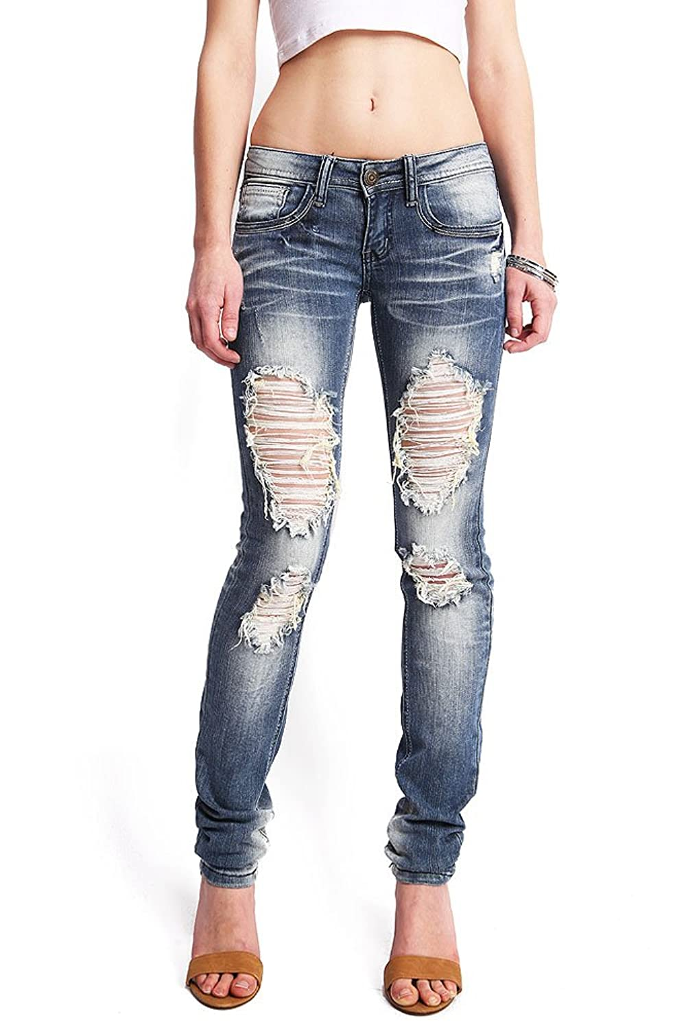 Machine Women's Juniors Low Rise Ripped Skinny Machine Jeans