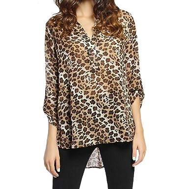 ee61883e564372 Amazon.com  Womens Chiffon Leopard Print Casual Tops T Shirt V-Neck Long  Sleeve Blouse  Clothing