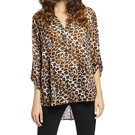 0ca003c72c3 Summer Womens Chiffon Blouse Sexy V-Neck Leopard Print Top Casual Loose  Long Sleeve T Shirt S-2XL at Amazon Women s Clothing store