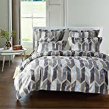3 piece Bed Sheet Set,Pillow Shams Bedding Set,Duvet Cover Set with Zipper Closure,100% Polyester,Ultra Soft, Comfortable, Breathable, Wrinkle,Fade & Stain Resistant (Grey, King)