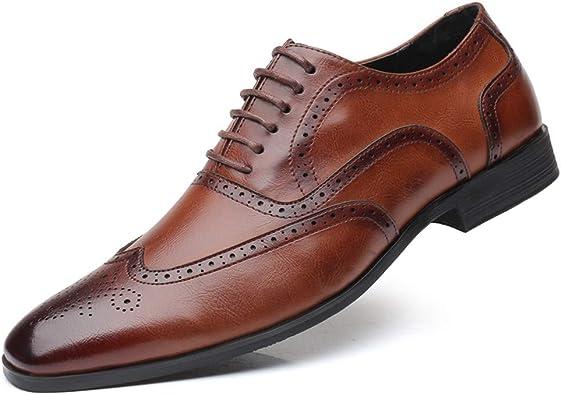 Brogue Uomo Pelle Scarpe Stringate Basse Oxford Derby Business Elegante Scarpe di Cuoio Vintage Matrimonio Derbi Nero 43 EU