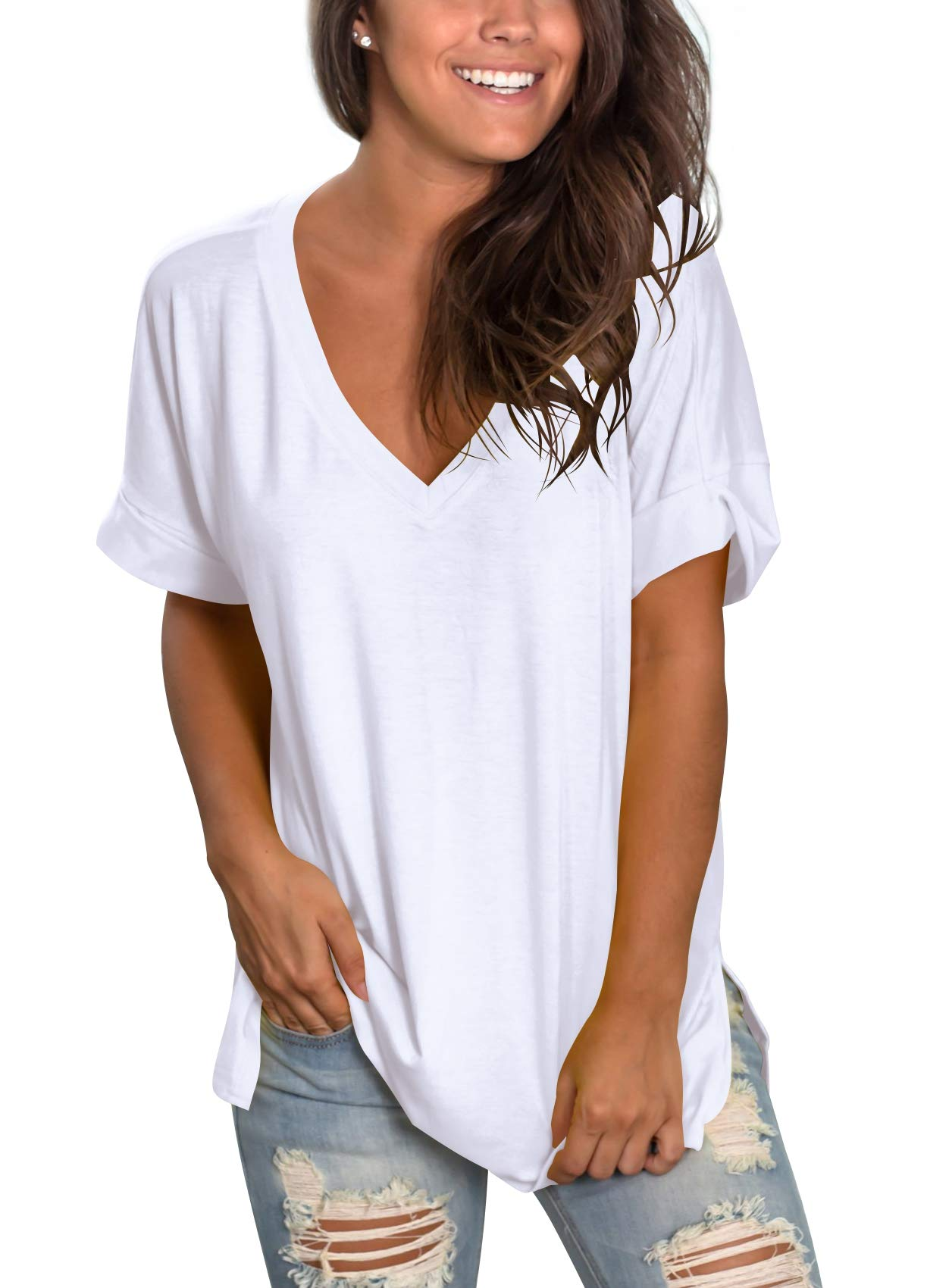 Women's Summer Tops Short Sleeve Loose fit Casual High Low Side Split White L by SAMPEEL