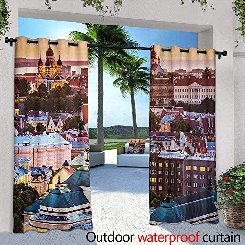 Tim1Beve Outdoor Curtain Panel for Patio Travel Tallinn Estonia Old City with Aerial View Dusk Sunset Cathedrals Tourist Attraction Darkening Thermal Insulated Blackout 108