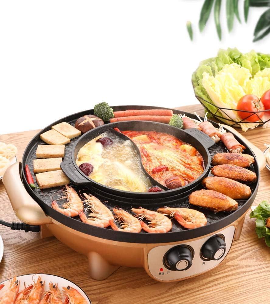 Hot Pot BBQ One-Pot Home Parrilla De Barbacoa Olla De Barbacoa Freír Asado Una Olla Plato De Barbacoa Sartén Eléctrica Electric Griddle