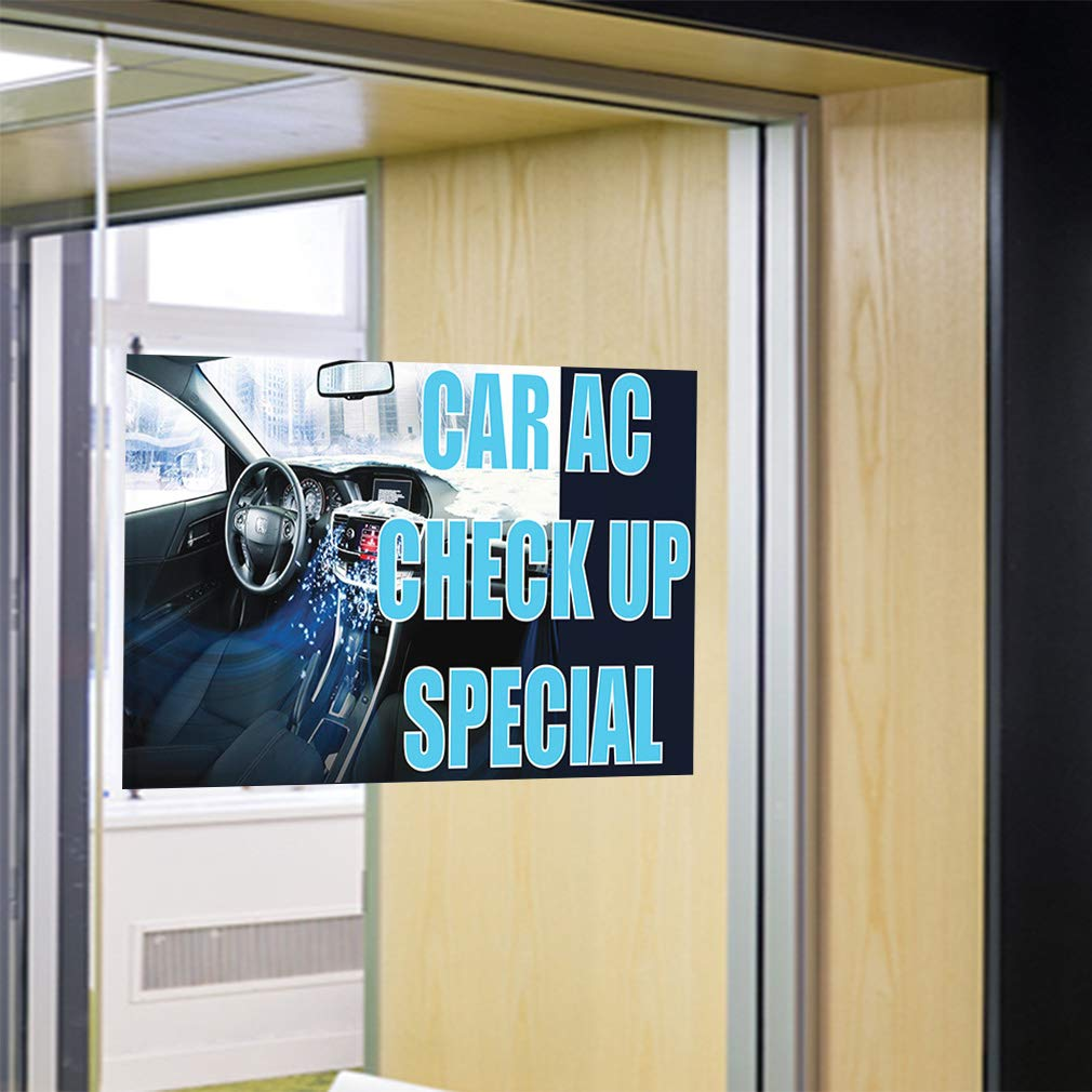 28inx20in Set of 10 Decal Sticker Multiple Sizes Car Ac Check Up Special Automotive Aircon of Cars Check up Outdoor Store Sign White