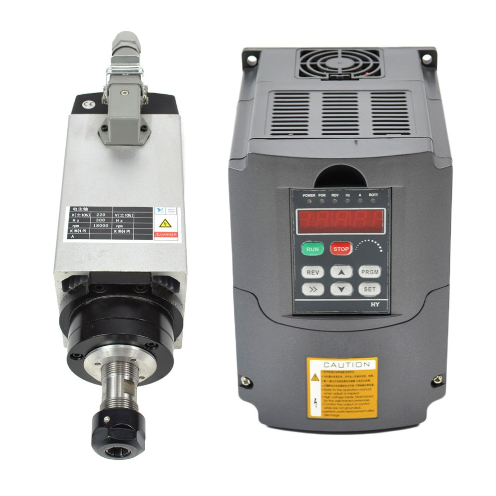 3KW 220V Er20 Collet Air Cooled CNC Spindle Motor and 3kw 220v Vfd Variable Frequency Drive by Taishi