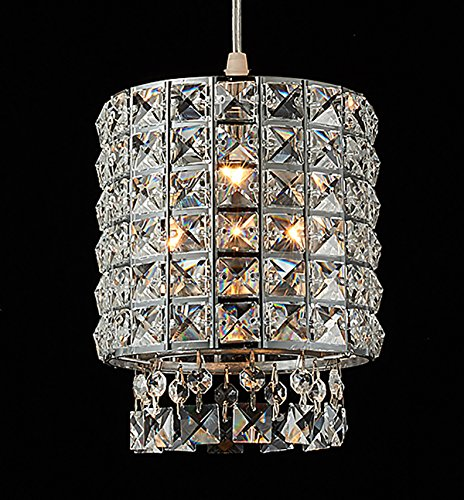 Plug-In Modern Crystal Chandelier Drop Pendant Lights with ON/OFF Dimmer Switch and 15' Clear Cord, Chrome Cylinder Style