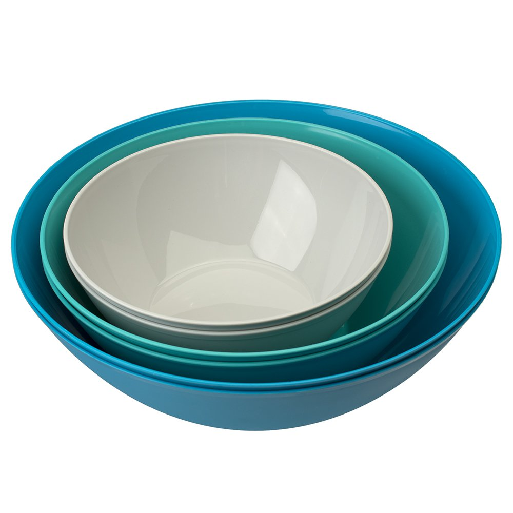 Fresco Plastic Mixing and Serving Bowls | 12-inch 10-inch 8-inch | 6-piece set Coastal by US Acrylic (Image #2)