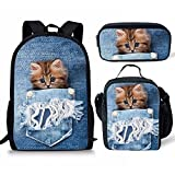 Showudesigns School Baackpack Bookbag+Lunch Box Food Picnic Bag+Pencil Case Pen Holder for Kids Cat