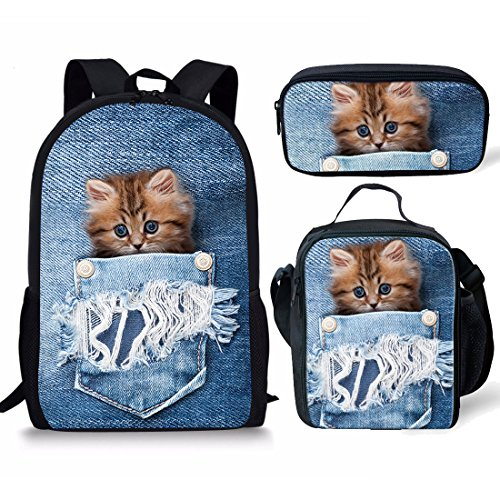 Showudesigns School Baackpack Bookbag+Lunch Box Food Picnic Bag+Pencil Case Pen Holder for Kids Cat Review