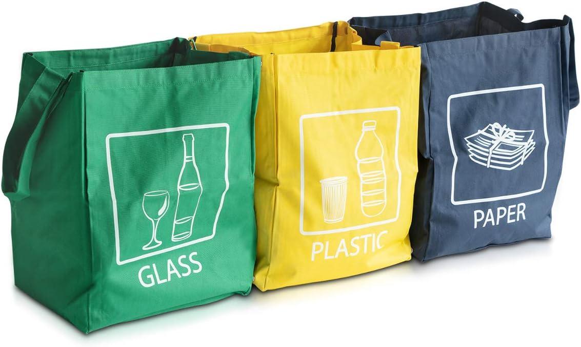 Navaris Set de Bolsas para Reciclaje - 3 Bolsas de Basura para Reciclar Vidrio Papel y plástico - Contenedor para la Cocina casa Extra Resistente