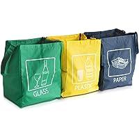 Navaris Set de Bolsas para Reciclaje - 3 Bolsas de Basura para Reciclar Vidrio Papel y plástico - Contenedor para la…