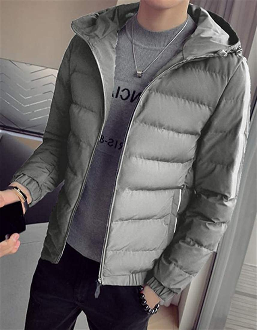 Hajotrawa Mens Hooded Quilted Winter Puffer Striped Thicken Parka Coat Jacket